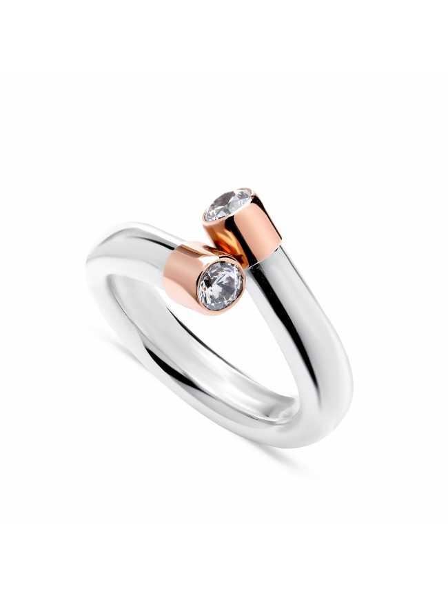 Srebrny pierścionek ze złotem i cyrkoniami