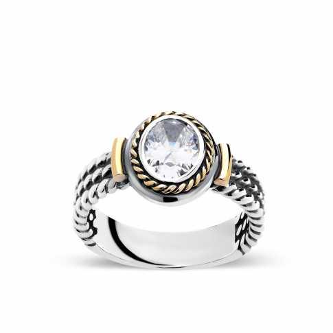 RETRO Silver and Gold ZIRCON Ring