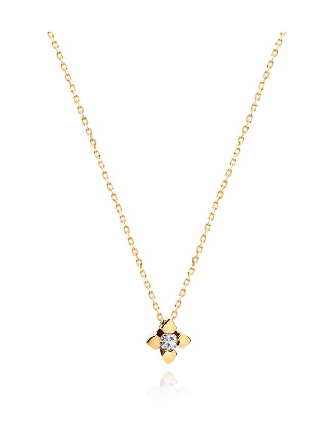Delikatny złoty naszyjnik z diamentem