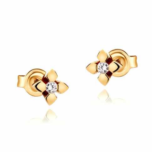 14K Gold Diamonds Earrings