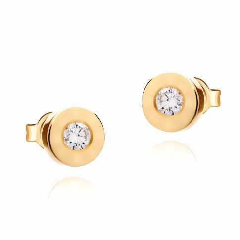 Złote kolczyki z diamentami
