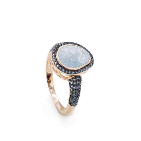Srebrny pierścionek z kwarcem LINEARGENT