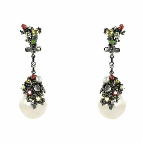Silver Pearls Black Earrings