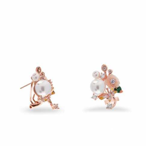 Srebrne kwiatowe kolczyki z perłami