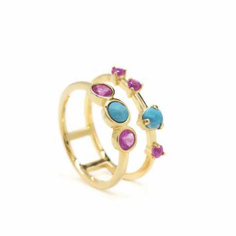 Pozłacany pierścionek z kamieniami