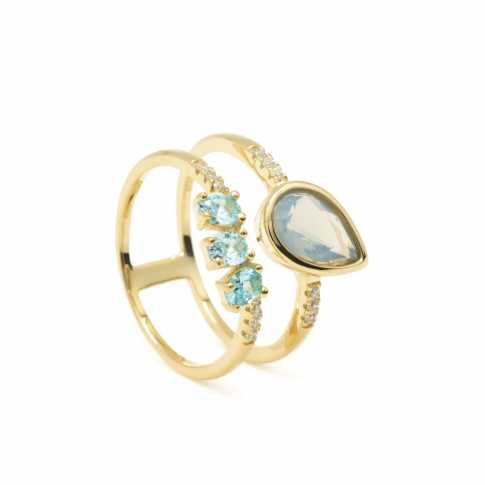 RINGS IN SILVER WITH MOONSTONE AND ZIRCONITE