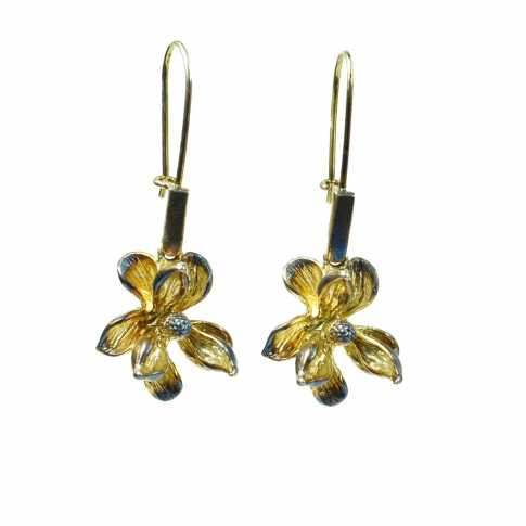 Kwiat - srebrne kolczyki