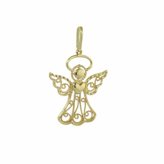 Anioł Stróż - złota zawieszka