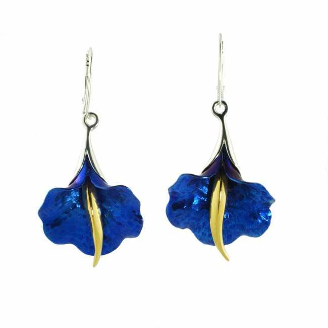 Niebieski Kwiat - kolczyki ze srebra i tytanu