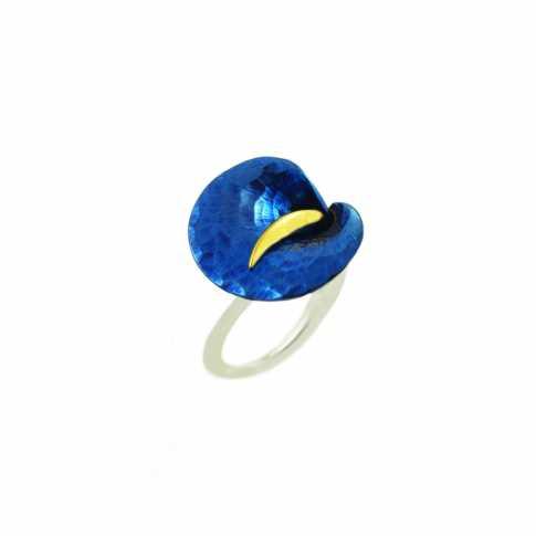 Niebieski Kwiat - pierścionek ze srebra i tytanu