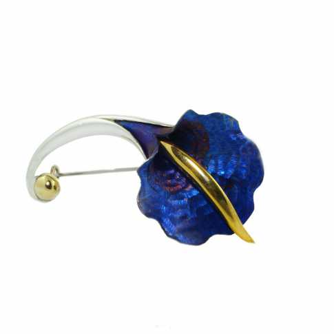 Niebieski Kwiat - broszka ze srebra i tytanu