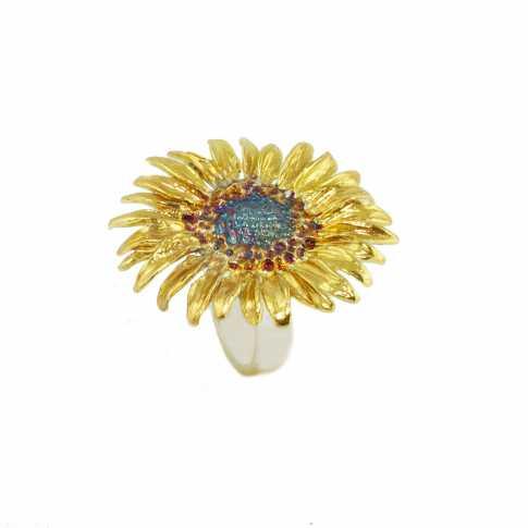 Słonecznik - srebrny pierścionek