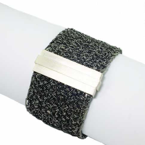 Szeroka srebrna bransoletka - rękodzieło