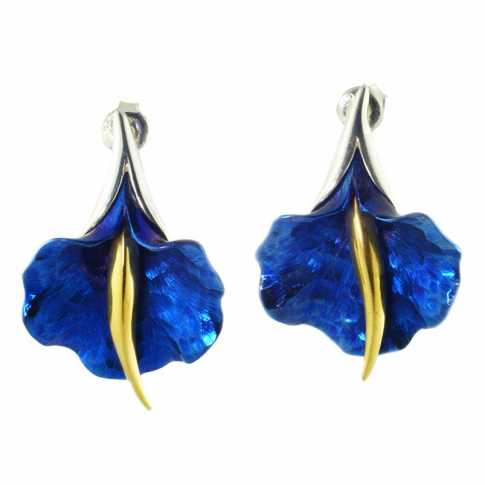 Niebieski Kwiat kolczyki ze srebra i tytanu