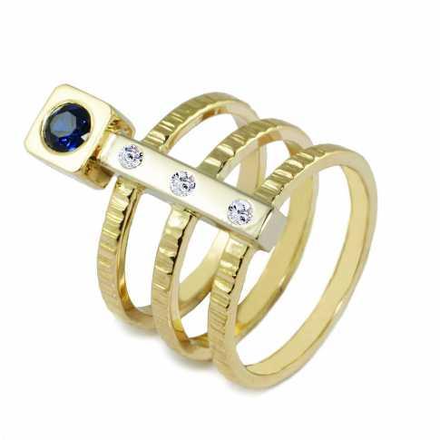 Złoty pierścionek brylantami i szafirem