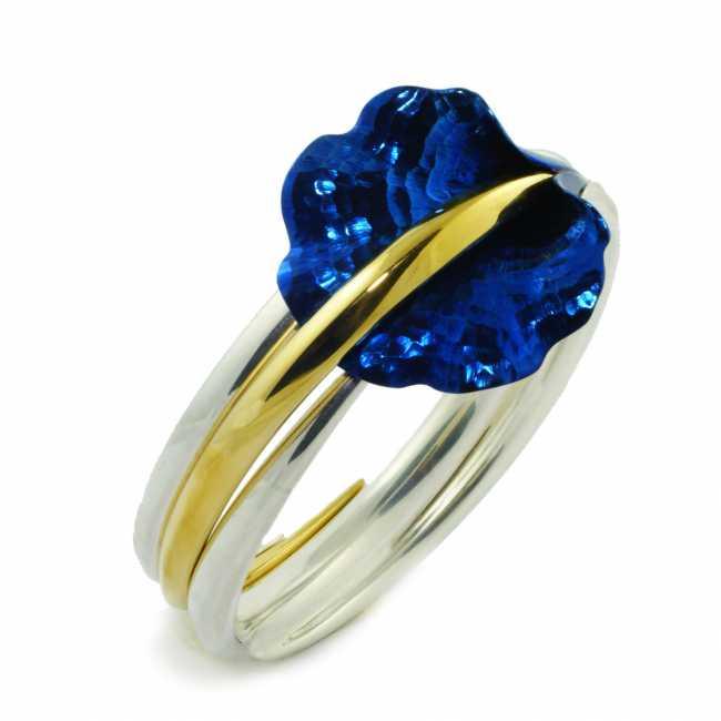 Niebieski Kwiat - bransoleta ze srebra i tytanu