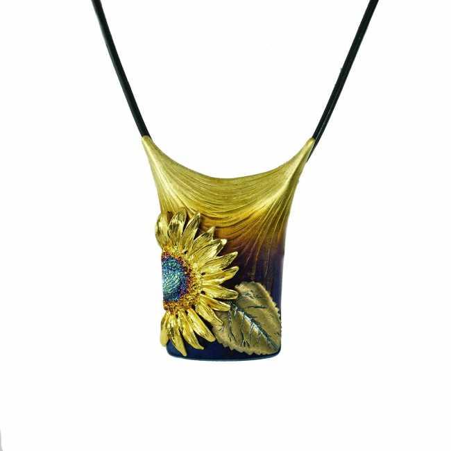 Słoneczniki - srebrny naszyjnik